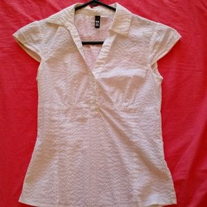 H&M short sleeves blouse - white silver